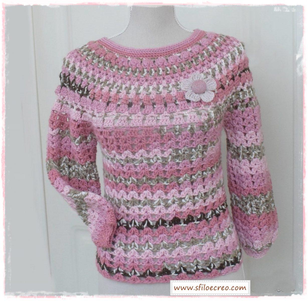 maglia variegata a uncinetto