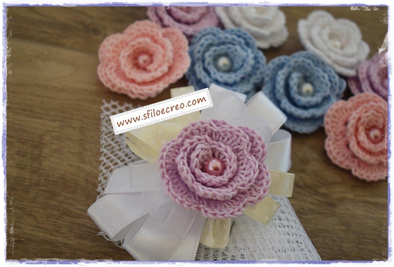 roselline a uncinetto per sacchettini