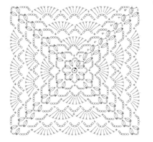 copertina quadrata a uncinetto con archi