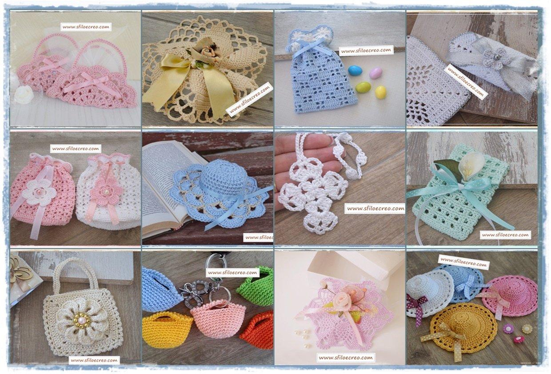 raccolta di sacchettini portaconfetti a uncinetto