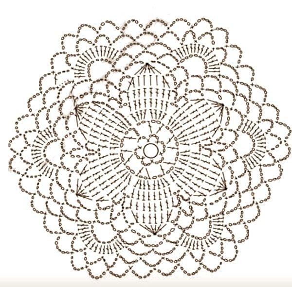 piastrella a uncinetto con petali e ventaglietti