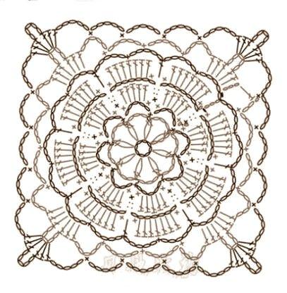 piastrelle con fiore per sacchettini a uncinetto