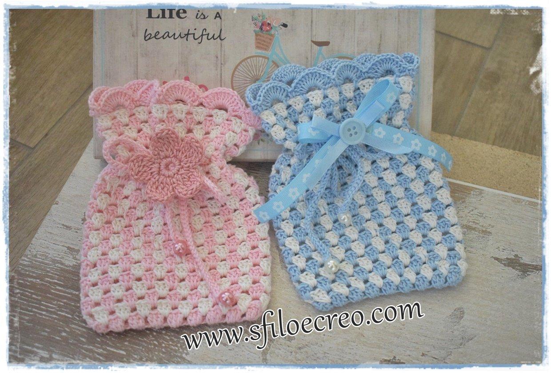 sacchettini bicolore a uncinetto