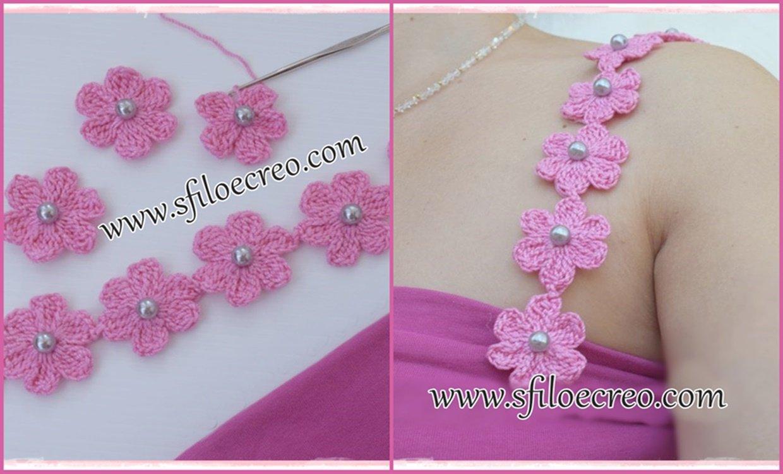 Read more about the article Bretellea uncinetto con fiori e perline